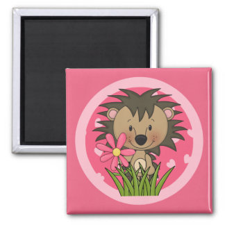 Cute Hedgehog With Flower and Hearts Square Magnet