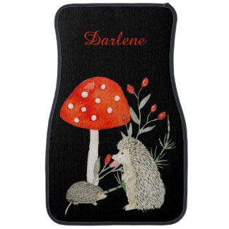 Cute Hedgehogs Mushrooms Floral Monogram Car Mats Floor Mat