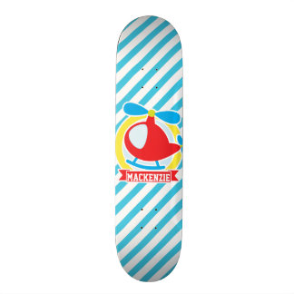 Cute Helicopter; Blue & White Stripes Skate Board