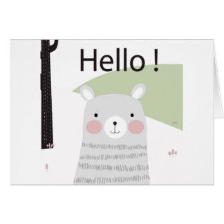 Cute hello happy lovely teddy bear cartoon card