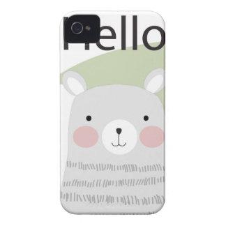 Cute hello happy lovely teddy bear cartoon iPhone 4 cover