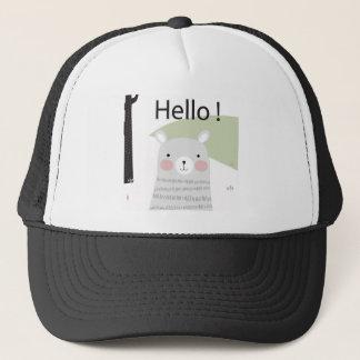 Cute hello happy lovely teddy bear cartoon trucker hat