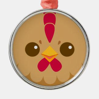 Cute Hen Chicken Face Christmas Ornament