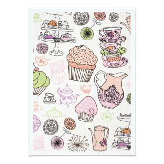 Cute high tea coffee cupcake pattern invitation