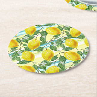 Cute Hip Tropical Summer Lemon Fruit Pattern Round Paper Coaster