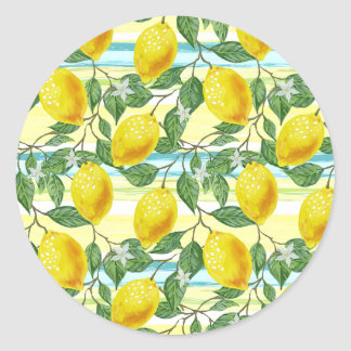 Cute Hip Tropical Summer Lemons Fruit Pattern Classic Round Sticker
