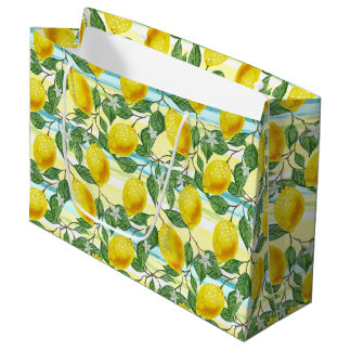 Cute Hip Tropical Summer Lemons Fruit Pattern Large Gift Bag