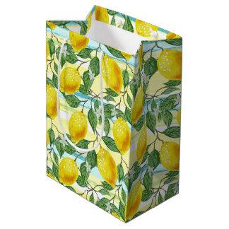 Cute Hip Tropical Summer Lemons Fruit Pattern Medium Gift Bag