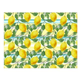 Cute Hip Tropical Summer Lemons Fruit Pattern Postcard