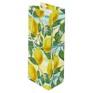 Cute Hip Tropical Summer Lemons Fruit Pattern Wine Gift Bag