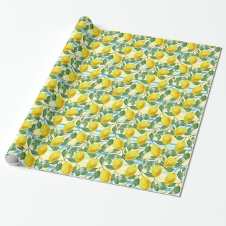 Cute Hip Tropical Summer Lemons Fruit Pattern Wrapping Paper