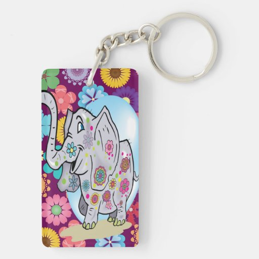 Cute Hippie Elephant with Colorful Flowers Acrylic Key Chains