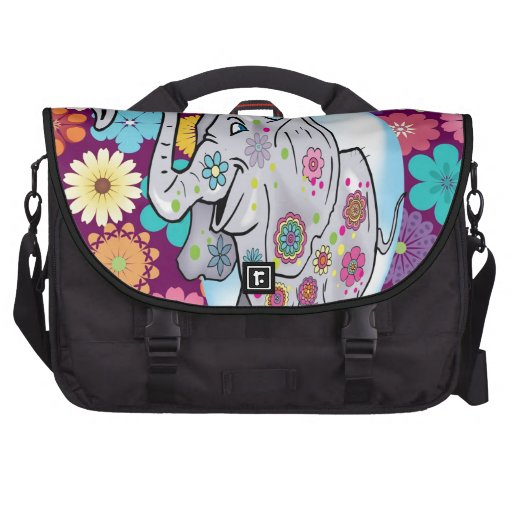 Cute Hippie Elephant with Colorful Flowers Computer Bag