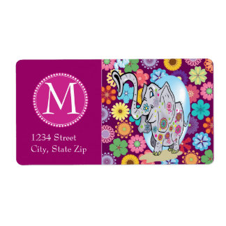Cute Hippie Elephant with Colorful Flowers Shipping Label