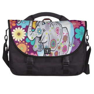 Cute Hippie Elephant with Colourful Flowers Laptop Bag