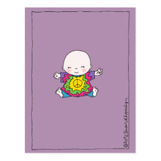 Cute Hippie / Hippy Tie Dye Peace Baby Postcard