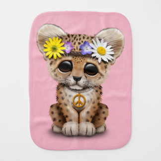 Cute Hippie Leopard Cub Burp Cloth
