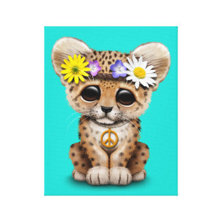 Cute Hippie Leopard Cub Canvas Print
