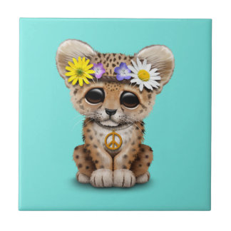 Cute Hippie Leopard Cub Ceramic Tile