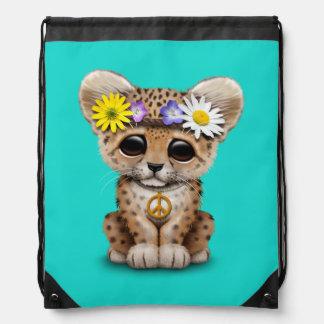 Cute Hippie Leopard Cub Drawstring Bag