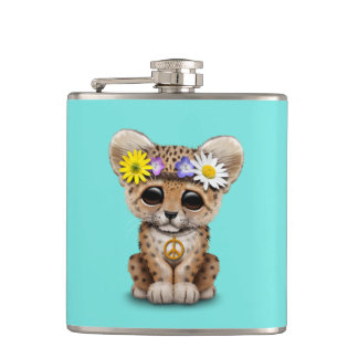 Cute Hippie Leopard Cub Hip Flask