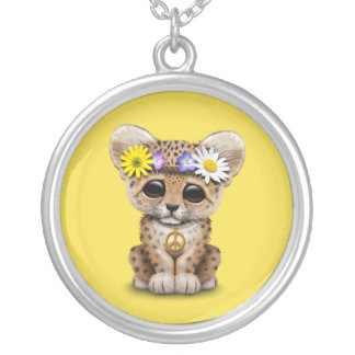 Cute Hippie Leopard Cub Silver Plated Necklace