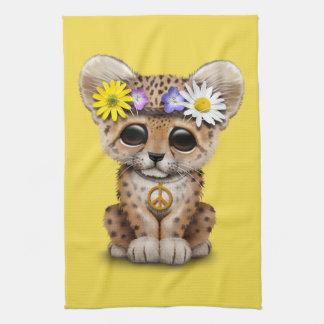 Cute Hippie Leopard Cub Tea Towel