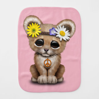 Cute Hippie Lion Cub Burp Cloth