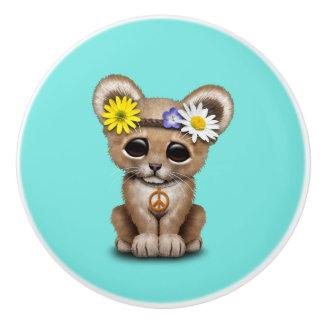 Cute Hippie Lion Cub Ceramic Knob