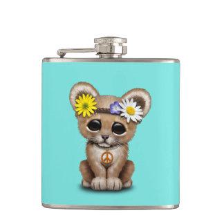 Cute Hippie Lion Cub Hip Flask