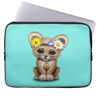 Cute Hippie Lion Cub Laptop Sleeve