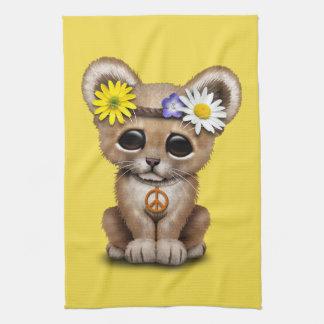 Cute Hippie Lion Cub Tea Towel