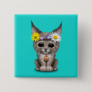 Cute Hippie Lynx Cub 15 Cm Square Badge