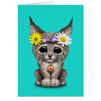 Cute Hippie Lynx Cub Card