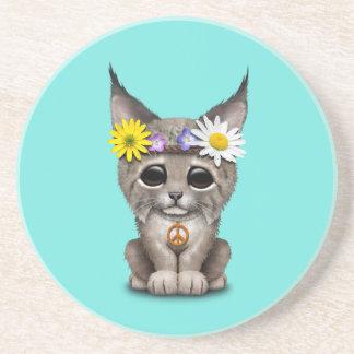 Cute Hippie Lynx Cub Coaster