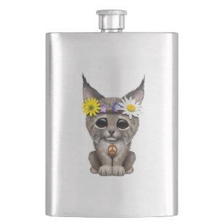 Cute Hippie Lynx Cub Hip Flask