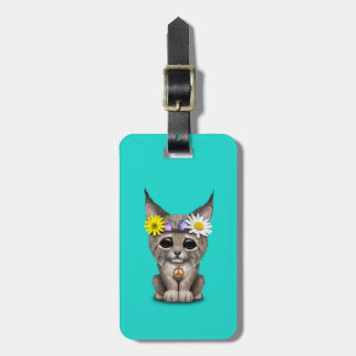Cute Hippie Lynx Cub Luggage Tag