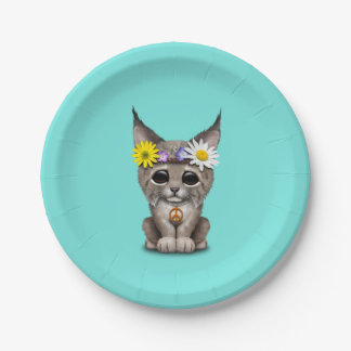 Cute Hippie Lynx Cub Paper Plate