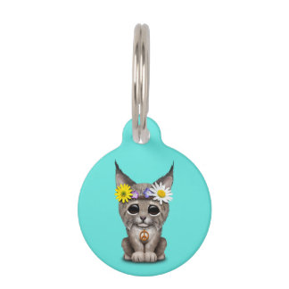Cute Hippie Lynx Cub Pet Tag