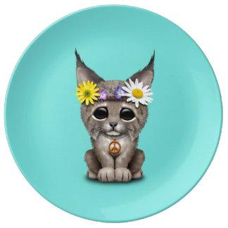 Cute Hippie Lynx Cub Plate