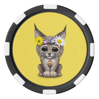 Cute Hippie Lynx Cub Poker Chips