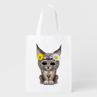 Cute Hippie Lynx Cub Reusable Grocery Bag