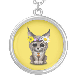 Cute Hippie Lynx Cub Silver Plated Necklace