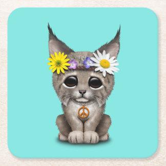 Cute Hippie Lynx Cub Square Paper Coaster