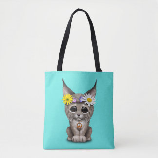 Cute Hippie Lynx Cub Tote Bag