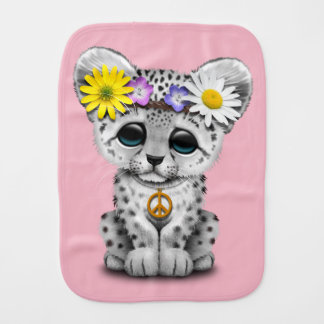 Cute Hippie Snow leopard Cub Burp Cloth