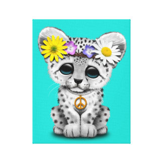 Cute Hippie Snow leopard Cub Canvas Print