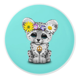 Cute Hippie Snow leopard Cub Ceramic Knob
