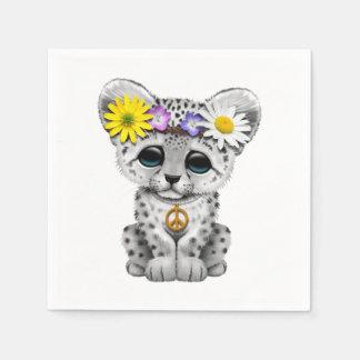 Cute Hippie Snow leopard Cub Disposable Serviette