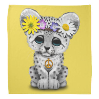 Cute Hippie Snow leopard Cub Head Kerchiefs